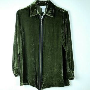 NWOT Soft Surroundings Jacket Velvet Green Zip XS